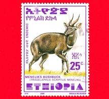 ETIOPIA - Usato - 2000 - Tragelafo Striato - Antilopi - Bushbuck Di Menelik - 25 (35 X 47 Mm) - Etiopia