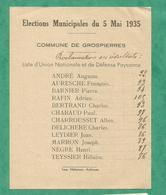 RESULTAT PROCLAMATION  GROSPIERRE 1935  ARDECHE UNION NATIONALE DEFENSE PAYSANNE - Historical Documents