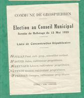 RESULTAT SCRUTIN BALLOTAGE GROSPIERRE 1935  ARDECHE Concentration Republicaine - Documents Historiques