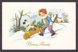 96878/ NOUVEL AN, Enfant, Garçonnet Conduisant Son Chien Dans Une Brouette - Nouvel An