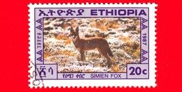 ETIOPIA - Usato - 1987 - Animali - Cani - Volpe Di Simien - Ethiopian Wolf - 20 - Etiopia