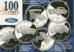 100 Years Of Ford 5 Dollar Coins Republic Of The Marshall Islands  Advertising Card - Collections