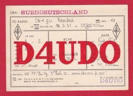 CARTE RADIO AMATEUR – D4UDO – SUEDDEUTSCHLAND 1931 - Amateurfunk