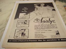 ANCIENNE  PUBLICITE DORMEZ DANS LES DRAPS AVEC AGALYS 1957 - Habits & Linge D'époque