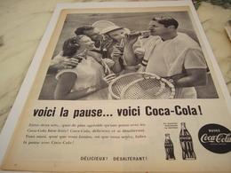 ANCIENNE PUBLICITE VOICI LA PAUSE ET TENNIS  COCA COLA 1960 - Manifesti Pubblicitari