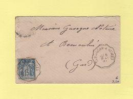 Convoyeur Tarascon A Nimes - 5 Mai 1897 - Type Sage - Poststempel (Briefe)