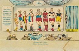 Postcard Cpa 1914 La Parade Des Lutteurs Teatro Europeo Di Varietà Lottatori - Wrestling
