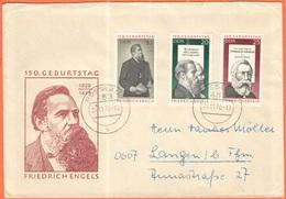 GERMANIA - GERMANY - Deutschland - ALLEMAGNE - DDR - 1970 - 150. Geburtstag Engels - On FDC Cover - Viaggiata Da Rosslau - [6] Democratic Republic