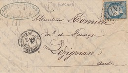 LETTRE 1875. HAUTE-GARONNE, LAINES ET BESTIAUX GRENADE S GARONNE GC 1713. BOITE RURALE C = BURGAUD POUR LEZIGNAN   /  3 - 1849-1876: Période Classique