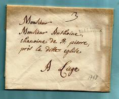 Brief Met Inhoud 06/07/1768, Griffe MALINES (26x4 Mm - Herlant 11) - 1714-1794 (Austrian Netherlands)
