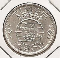 TIMOR 10$ ESCUDOS1964 SILVER DIFICILLE - Timor