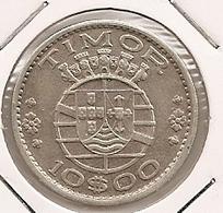 TIMOR 10$ ESCUDOS1964 SILVER TRES DIFICILLE TTBE - Timor
