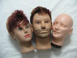 Lot 3x Tete Mannequin Homme Pour Presentation Casque , Kepi Ect (le Casque Sur La Photo N'est Pas à Vendre!) - Headpieces, Headdresses