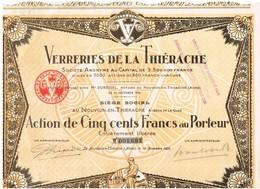 Titre Ancien - Verreries De La Thiérache - Société Anonyme -  Titre De 1924 - - Industrie