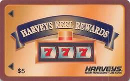 Harvey's Casino - Lake Tahoe, NV - Small $5 Reel Rewards - Small 2.8 Inch Banner - Slot Card - Casinokarten