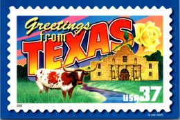 Stamps On Postcards Greetings From Texas - Stamps (pictures)