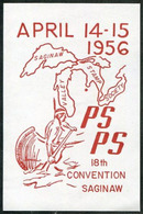USA 1956 Saginaw Convention Philatelic Exhibition AMERICAN RED INDIAN Canoe Lakes Map Vignette Poster Stamp Cinderella - American Indians