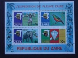 ZAIRE 1978 TWO SOUVENIR SHETS WITH BLOCK OF 4 ABOUT FAUNA AND FLORA - Stamps
