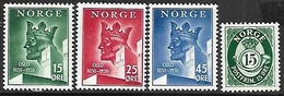 Norway 1950  Sc#304-6, 308  MNH   2016 Scott Value $5.40 - Norway