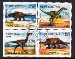 KYRGYZSTAN, 1998 DINOSAURS CTO BLOCK 4 - Kyrgyzstan