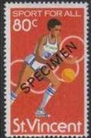ST.VINCENT 1980 Sports Basketball 80c Olympics SPECIMEN - Basketball