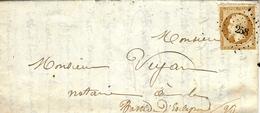 1860- Lettre De BARGEMON ( Var ) Affr. 10 C N° 13 Oblit. P C 258 ( Oubli Du Cad ) - Marcophilie (Lettres)