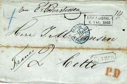 """1863- Letter From ULEABORG. """" Via St Petersburg """"  + FRANCO  + P.D. To Cette ( France ) - Covers & Documents"""