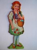 Chromo Découpi Uitgesneden Meisje Fruitmand Fille Corbeille Fruit Gaufré Form. 4 X 12 Cm - Enfants