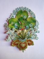 Chromo Découpi Uitgesneden Collage Fleurs Myosotis Colombe Gaufré Form. 8 X 10,5 Cm - Découpis