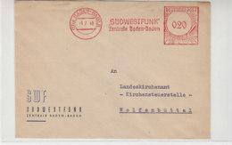 Freistempel Des SÜDWESTFUNK Aus (17b) BADEN-BADEN 6.7.49 Nach Wolfenbüttel / Schöner Beleg - Zona Francese