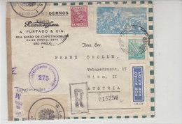 Luftpostbrief Aus Sao Paulo Nach WIEN 18.8.49 über Zensurstelle Und Mit Verschlussmarken - 1945-60 Briefe U. Dokumente