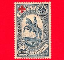 ETIOPIA - Nuovo - 1936 - Statua A Menelik - Sovrastampato Croce Rossa - 4 (+4) - Etiopia