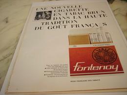 ANCIENNE PUBLICITE CIGARETTE FONTENOY TABAC BRUN 1963 - Autres