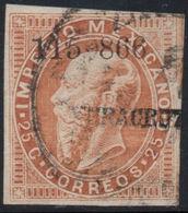 MEXICO - 1866, MAXI.- 25c. - 115-866, VERACRUZ, USED, SCOTT #33 - CAT.$11.00 - Mexico