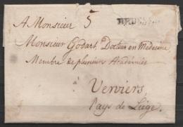 """L. Datée 19 Décembre 1787 D'un Médecin De BRUXELLES Pour Confrère à VERVIERS - Griffe """"BRUSSEL"""" Port """"5"""" - Voir Texte - 1714-1794 (Austrian Netherlands)"""