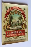Etiquette De  RHUM FRANCO HAITIEN L.g Soubiran Port Au Prince Antilles Distillerie Bordeaux - Rhum