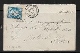 France  Lettre De 1874  Avec Le N°60C - Storia Postale