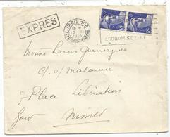 GANDON 6FR BLEU PAIRE LETTRE EXPRES OBL MECANIQUE FLIER PARIS 109 13. XI 1945 AU TARIF - 1945-54 Marianne (Gandon)