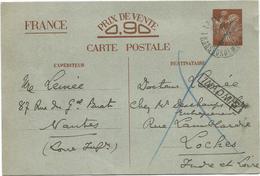 ENTIER IRIS 90C IRIS CP FAMILIAL LE MANS TRASBORDEMENT 8.2.1941 POUR LOCHES INDRE ET LOIRE + GRIFFE INADMIS - Marcophilie (Lettres)