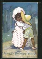 Künstler-AK Agnes Richardson: Afrikanisches Paar Im Park Küsst Sich - Other Illustrators