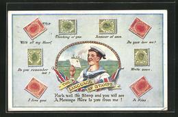 AK The Language Of Stramps, Briefmarkensprache, Britischer Matrose - Briefmarken (Abbildungen)