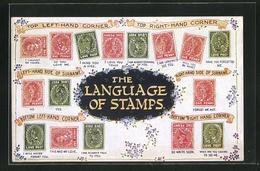 AK The Language Of Stramps, Briefmarkensprache - Briefmarken (Abbildungen)