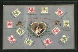 Präge-AK The Language Of Stramps, Briefmarkensprache, Kuss - Briefmarken (Abbildungen)