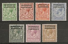 MOROCCO AGENCIES 1925 - 1936 WATERMARK BLOCK CYPHER SET SG 55/61 MOUNTED MINT Cat £55 - Bureaux Au Maroc / Tanger (...-1958)