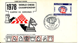 Philippines FDC 17-7-1978 World Chess Championship 1978 Karpov Vs. Korchnoi With Cachet (hinged Marks On The Backside Of - Chess