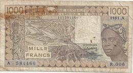 Banque Centrale Des états De L'Afrique De L'ouest Lettre A  1000francs 1981 - Banconote