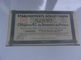 GOULET TURPIN (obligation 4 1/4% De 5000 Francs 1947) Reims,marne - Acciones & Títulos