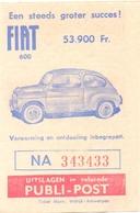 Biljet Loterij - Billet Loterie - Pub Reclame - Publi Post - Fiat 600 - Billets De Loterie