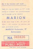 Biljet Loterij - Billet Loterie - Pub Reclame - Publi Post - Kledij Marion Antwerpen - Billets De Loterie
