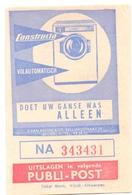 Biljet Loterij - Billet Loterie - Pub Reclame - Publi Post - Wasmachines Constructa - Billets De Loterie